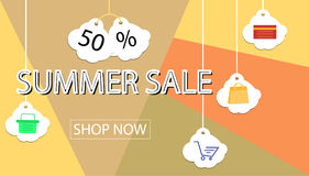 Summer sale banner design for promotion with shopping icons. Royalty Free Stock Photo
