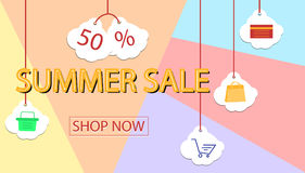 Summer sale banner design for promotion with shopping icons. Vector illustration Stock Photography