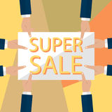 Summer sale banner design for promotion with shopping icons. Vector illustration Royalty Free Stock Photography