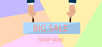 Summer sale banner design for promotion with shopping icons. Vector illustration Royalty Free Stock Image
