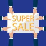 Summer sale banner design for promotion with shopping icons. Vector illustration Stock Photo