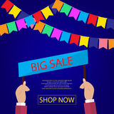 Summer sale banner design for promotion with shopping icons. Stock Photo
