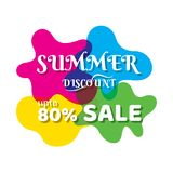 Summer sale banner design. With colorful background Royalty Free Stock Photo