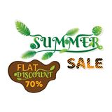 Summer sale banner design. With green palm leaves Stock Photos