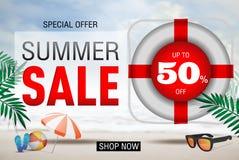 Summer Sale 50% banner design template. The Summer Sale 50% banner design template Royalty Free Stock Photo