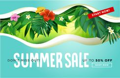 Summer sale banner design template Royalty Free Stock Photography