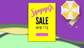 Summer sale. Banner with discount action, promo actions for shops. Hot offer for buyers on abstract background from cut. Out of paper layers. Get up to seventy Royalty Free Illustration