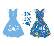 Summer sale banner with dresses for women. Stock Photos