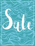 Summer sale bannerVector Color Hand drawing Wave Sea Background .Abstract ocean texture. Summer sale banner.Exotic floral design for banner, flyer, invitation Royalty Free Illustration