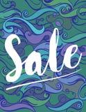 Summer sale bannerVector Color Hand drawing Wave Sea Background .Abstract ocean texture. Summer sale banner.Exotic floral design for banner, flyer, invitation Vector Illustration