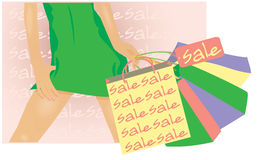 Summer sale banner, Female shopping. Vector illustration Royalty Free Stock Photo