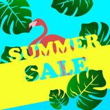 Summer sale banner with flamingo and tropical leaves background vector illustration