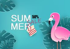 Summer sale, banner with flamingo and tropical leaves poster background, seasonal holiday, floral design, fliyer, invitation, vector illustration