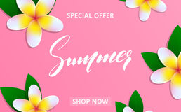 Summer sale banner with frangipani flowers and lettering Summer for promotion, discount, sale, web. Royalty Free Stock Photography