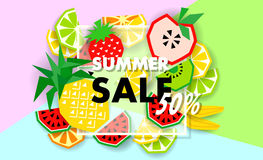 Summer sale banner with fruit, vector Royalty Free Stock Photo