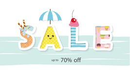 Summer sale banner. Funny cartoon letters. Vector illustration Royalty Free Stock Images