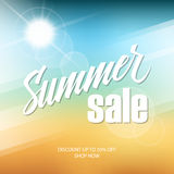 Summer Sale banner with hand lettering and blurred background for business, promotion and advertising. Vector illustration Royalty Free Stock Images