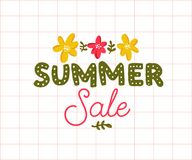 Summer sale banner with hand lettering inscription and flowers on squared paper. Stock Photo