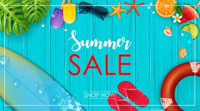 Summer sale banner. Illustration of Summer sale banner stock illustration