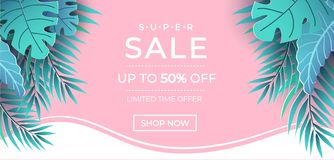 Free Summer Sale Banner In Trendy Style With Pink And Blue Colors For Promotion Of Cosmetic, Fashion, Accessorize Etc. Modern Summer Royalty Free Stock Photo - 145867735
