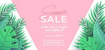 Free Summer Sale Banner In Trendy Style With Pink And Green Tropical Leaves For Promotion Of Cosmetic, Fashion, Accessorize Etc. Modern Stock Photography - 145867722