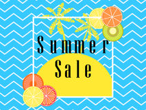 Summer Sale. Banner layout with fruits and palm trees in a frame. Vector Stock Photos