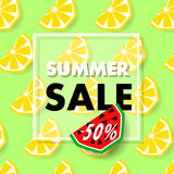 Summer sale banner with lemon, vector Stock Image