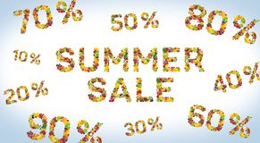 Summer sale banner made of fruits and berries