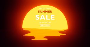 Summer sale banner modern design tropical leaves background 3d template illustration royalty free illustration
