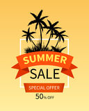 Summer sale banner with palm trees. Summer sale banner design with palm trees. Vector illustration Royalty Free Illustration