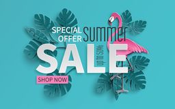 Summer sale banner with paper cut flamingo and tropical leaves background, exotic floral design for banner, flyer, poster stock illustration
