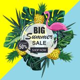 Summer sale banner with paper cut flamingo and tropical leaves background, exotic floral royalty free illustration