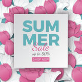 Summer sale banner with paper cut frame and blooming pink lotus flowers on floral background for banner, flyer, poster or web site vector illustration