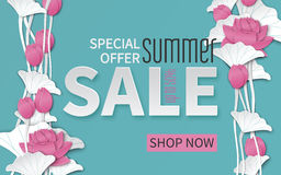 Summer sale banner with paper cut frame and blooming pink lotus flowers on floral background for banner, flyer, poster or web site Royalty Free Stock Photos