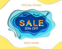 Summer sale banner with paper cut frame on blue sea and beach summer background with curve paper waves and seacoast for stock images