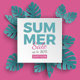 Summer sale banner with paper cut frame and tropical plants on green background, floral design for banner, flyer, poster vector illustration