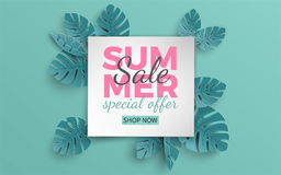 Summer sale banner with paper cut frame and tropical plants on green background, floral design for banner, flyer, poster. Summer sale banner with paper cut frame Royalty Free Stock Photography