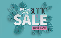 Summer sale banner with paper cut tropical leaves background, exotic floral design for banner, flyer, invitation, poster, web site. Or greeting card. Paper cut Stock Images