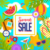 Summer Sale banner with pieces of ripe fruit, berries on colorful background. Vector eps 10 format Stock Photo