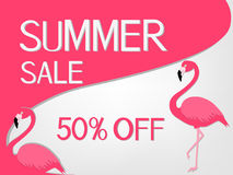 Summer sale banner with pink flamingo. Royalty Free Stock Images