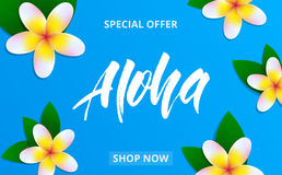 Summer sale banner with plumeria flowers and lettering Aloha for promotion, discount, sale, web. vector illustration
