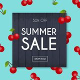 Summer Sale Banner. Poster, Flyer, Vector. Cherry on a backgroun Royalty Free Stock Photos