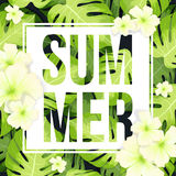 Summer Sale banner or poster with Monstera palm leaves pattern and hibiscus flowers Stock Photo