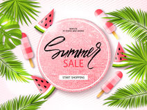 Summer sale banner, poster with palm leaves, jungle leaf, ice cream, watermelon and handwriting lettering. Tropical background. Ve Royalty Free Stock Photo