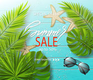 Summer sale banner, poster with sunglasses ,starfish, tropical plants, leaves and water drops on wooden board. Vector. Illustration Stock Photos
