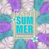 Summer sale banner, poster template with colorful 3d realistic palm leaves and flowers background. Summer sale banner, poster template with colorful 3d Stock Image