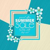 Summer sale banner, poster template with realistic 3d flowers . Floral colorful abstract background. Summer sale banner, poster template with realistic 3d stock illustration