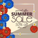 Summer sale banner, poster template with realistic 3d flowers . Floral colorful abstract background. Summer sale banner, poster template with realistic 3d Royalty Free Stock Image