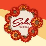 Summer sale banner, poster template with realistic 3d flowers . Floral colorful abstract background. Summer sale banner, poster template with realistic 3d Royalty Free Stock Photos