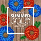 Summer sale banner, poster template with realistic 3d flowers on wood background. Summer sale banner, poster template with realistic 3d flowers on wood Stock Photo